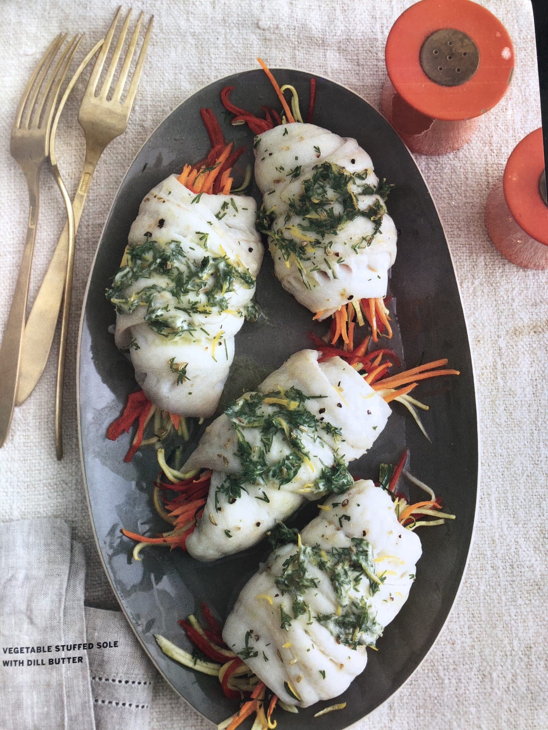 Vegetable Stuffed Sole with Dill Butter