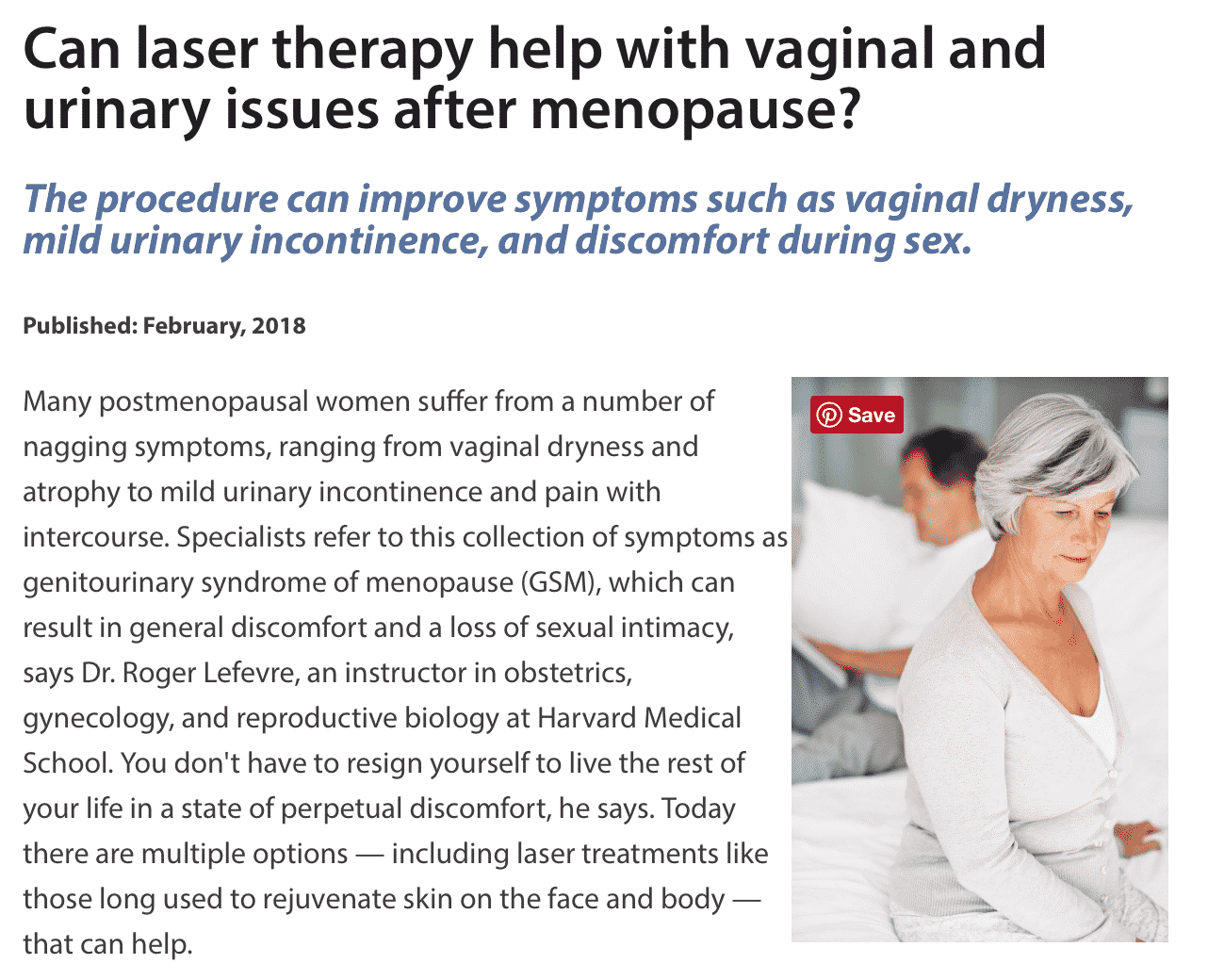 Can laser therapy help with vaginal and urinary issues after menopause?
